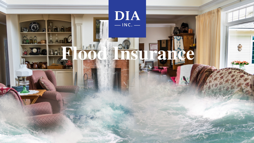 flood insurance with picture of water rushing into a house